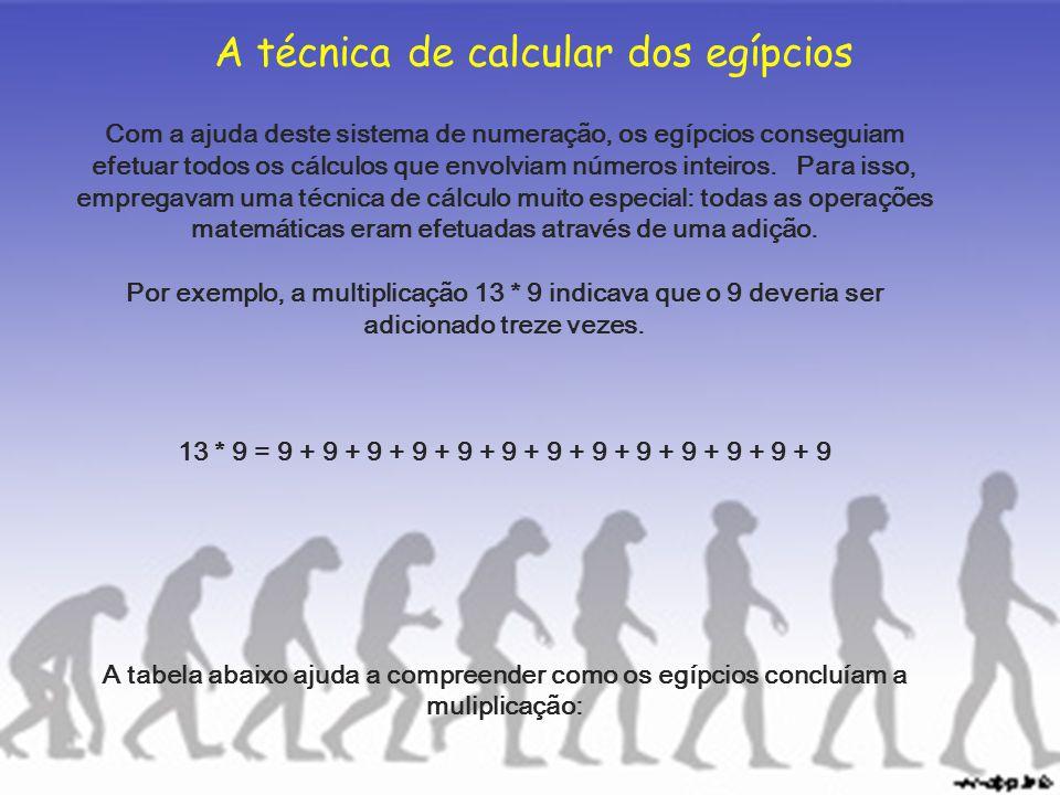 A técnica de calcular dos egípcios Com a ajuda deste sistema de numeração, os egípcios conseguiam efetuar todos os cálculos que envolviam números inte