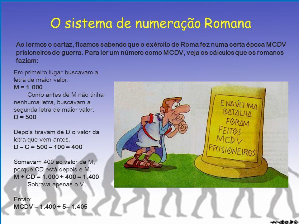 O sistema de numeração Romana Ao lermos o cartaz, ficamos sabendo que o exército de Roma fez numa certa época MCDV prisioneiros de guerra. Para ler um