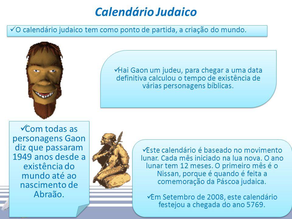 Calendário Judaico O calendário judaico tem como ponto de partida, a criação do mundo. Hai Gaon um judeu, para chegar a uma data definitiva calculou o