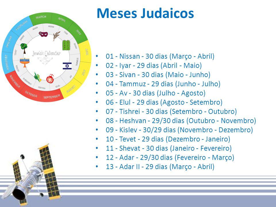 Meses Judaicos 01 - Nissan - 30 dias (Março - Abril) 02 - Iyar - 29 dias (Abril - Maio) 03 - Sivan - 30 dias (Maio - Junho) 04 - Tammuz - 29 dias (Junho - Julho) 05 - Av - 30 dias (Julho - Agosto) 06 - Elul - 29 dias (Agosto - Setembro) 07 - Tishrei - 30 dias (Setembro - Outubro) 08 - Heshvan - 29/30 dias (Outubro - Novembro) 09 - Kislev - 30/29 dias (Novembro - Dezembro) 10 - Tevet - 29 dias (Dezembro - Janeiro) 11 - Shevat - 30 dias (Janeiro - Fevereiro) 12 - Adar - 29/30 dias (Fevereiro - Março) 13 - Adar II - 29 dias (Março - Abril)