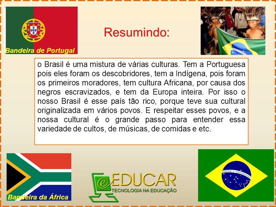 Resumindo: o Brasil é uma mistura de várias culturas. Tem a Portuguesa pois eles foram os descobridores, tem a Indígena, pois foram os primeiros morad