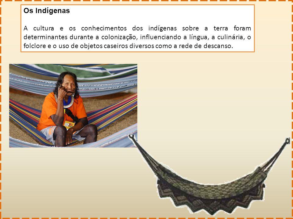 Os Indígenas A cultura e os conhecimentos dos indígenas sobre a terra foram determinantes durante a colonização, influenciando a língua, a culinária,