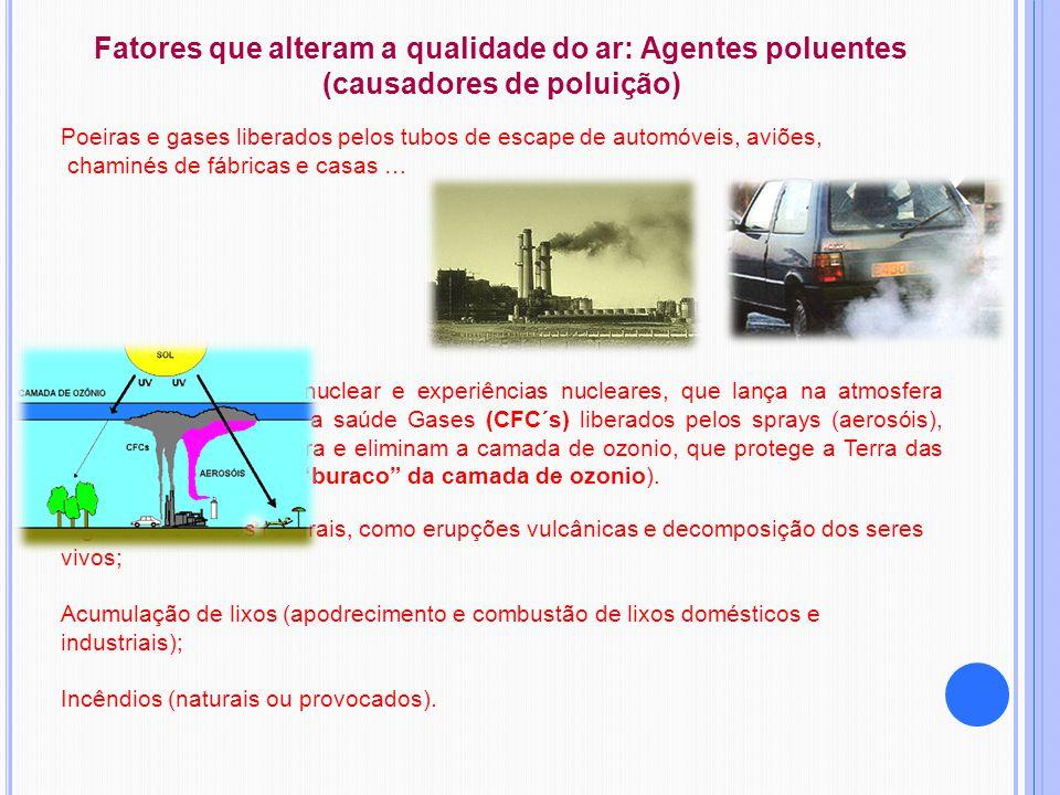 Fatores que alteram a qualidade do ar: Agentes poluentes (causadores de poluição) Poeiras e gases liberados pelos tubos de escape de automóveis, aviõe
