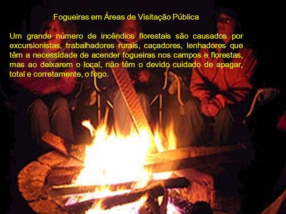 Fogueiras em Áreas de Visitação Pública Um grande número de incêndios florestais são causados por excursionistas, trabalhadores rurais, caçadores, len