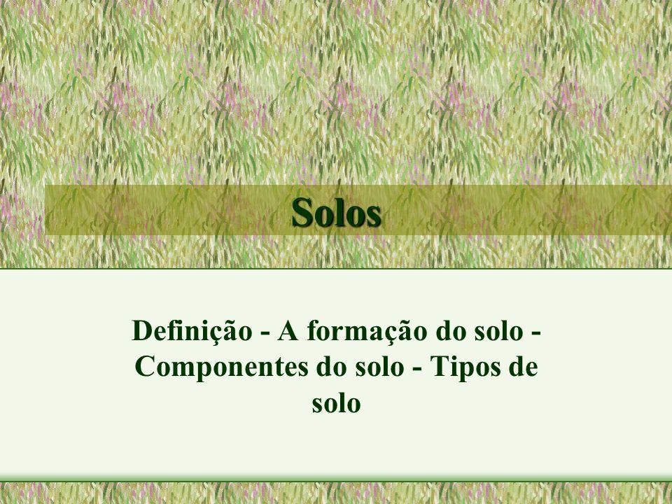 Solos Definição - A formação do solo - Componentes do solo - Tipos de solo