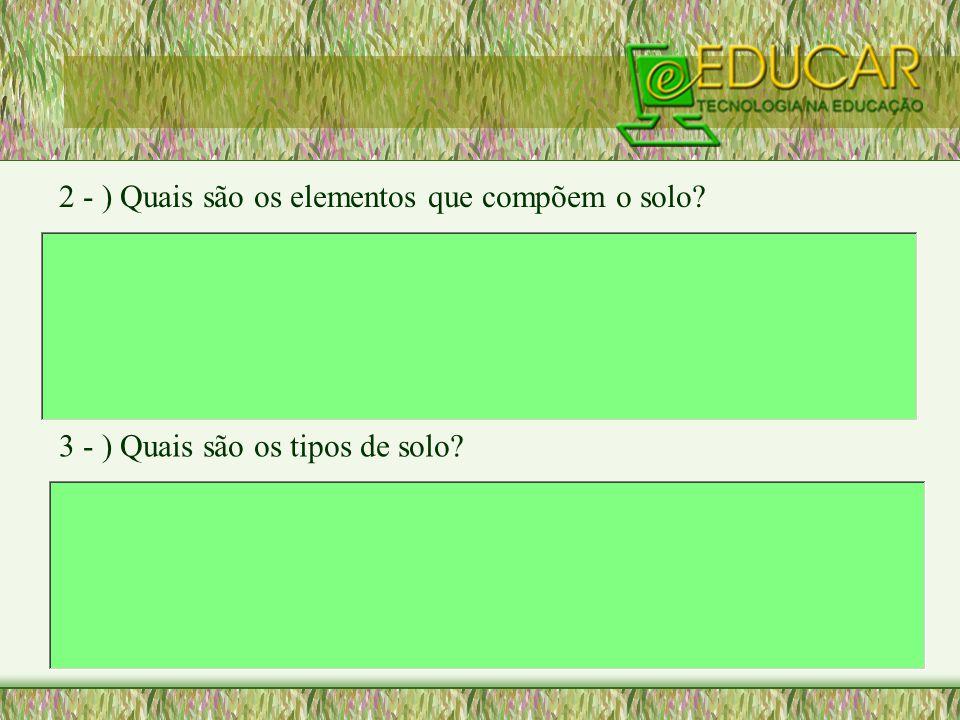 2 - ) Quais são os elementos que compõem o solo? 3 - ) Quais são os tipos de solo?