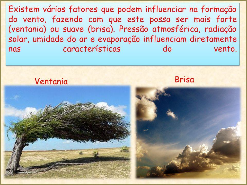 Existem vários fatores que podem influenciar na formação do vento, fazendo com que este possa ser mais forte (ventania) ou suave (brisa).