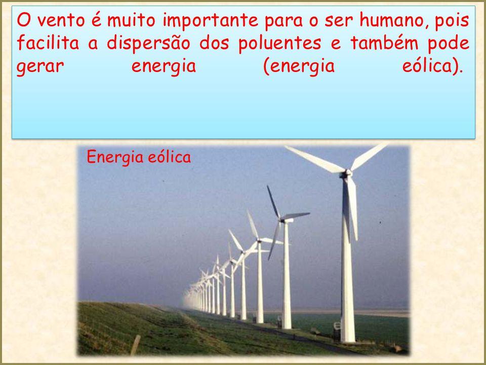 O vento é muito importante para o ser humano, pois facilita a dispersão dos poluentes e também pode gerar energia (energia eólica).