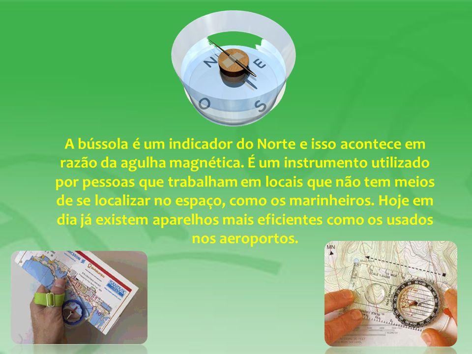 A bússola é um indicador do Norte e isso acontece em razão da agulha magnética.
