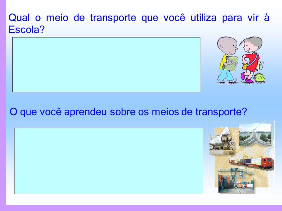 Relacione os meios de transporte com cada paisagem de acordo com a classificação: 1 2 3 4