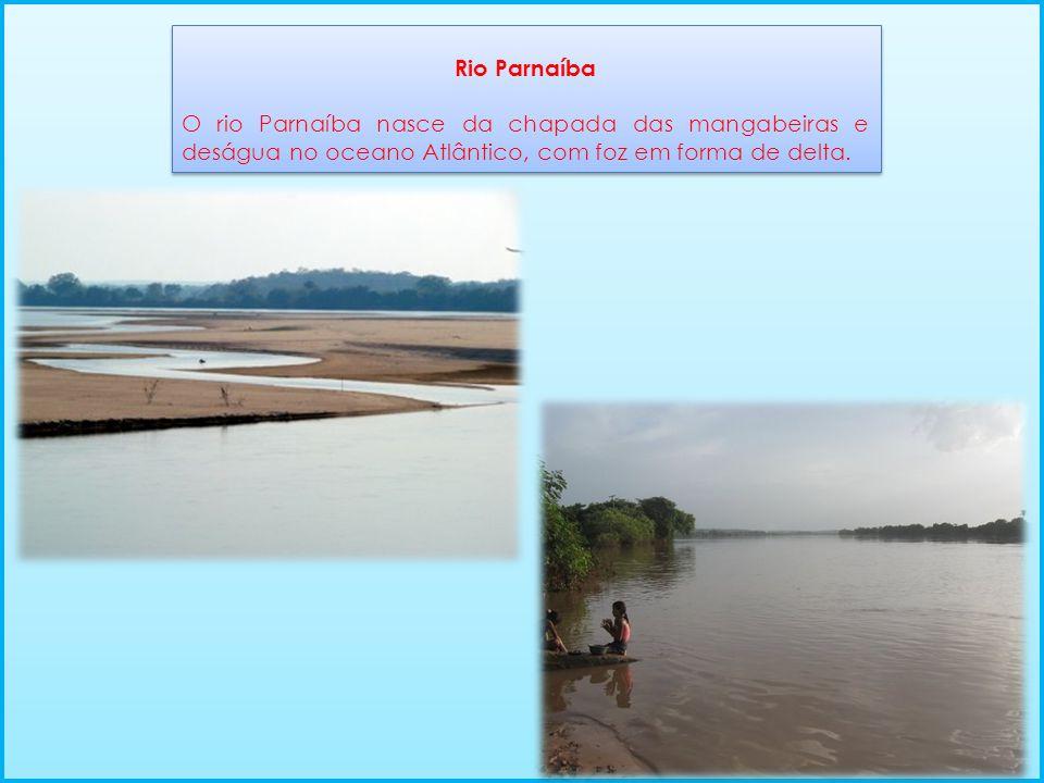 Rio Parnaíba O rio Parnaíba nasce da chapada das mangabeiras e deságua no oceano Atlântico, com foz em forma de delta. Rio Parnaíba O rio Parnaíba nas