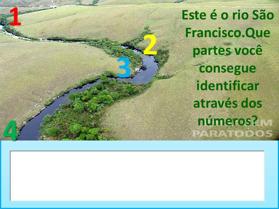 Este é o rio São Francisco.Que partes você consegue identificar através dos números? 1 2 3 4