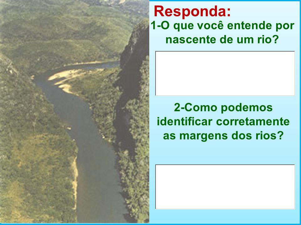 Responda: 1-O que você entende por nascente de um rio? 2-Como podemos identificar corretamente as margens dos rios?