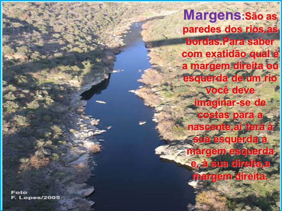 Margens :São as paredes dos rios,as bordas.Para saber com exatidão qual é a margem direita ou esquerda de um rio você deve imaginar-se de costas para
