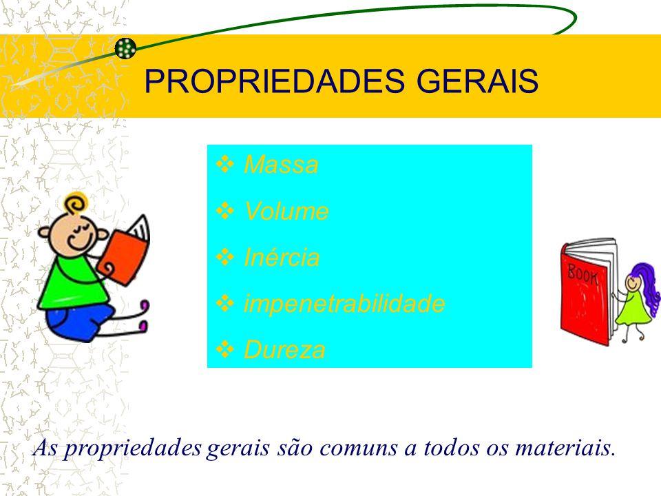 PROPRIEDADES DA MATÉRIA PROPRIEDADES GERAIS PROPRIEDADES FUNCIONAIS PROPRIEDADES ESPECÍFICAS