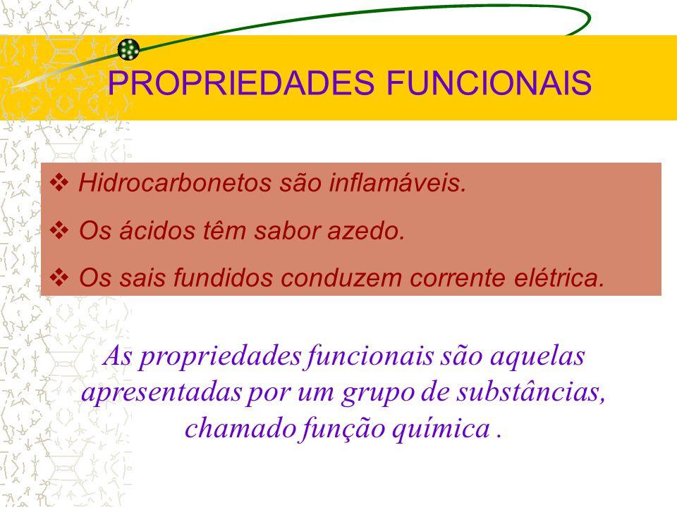 PROPRIEDADES FUNCIONAIS Hidrocarbonetos são inflamáveis.