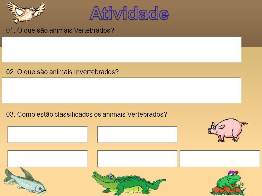 01. O que são animais Vertebrados? 02. O que são animais Invertebrados? 03. Como estão classificados os animais Vertebrados?