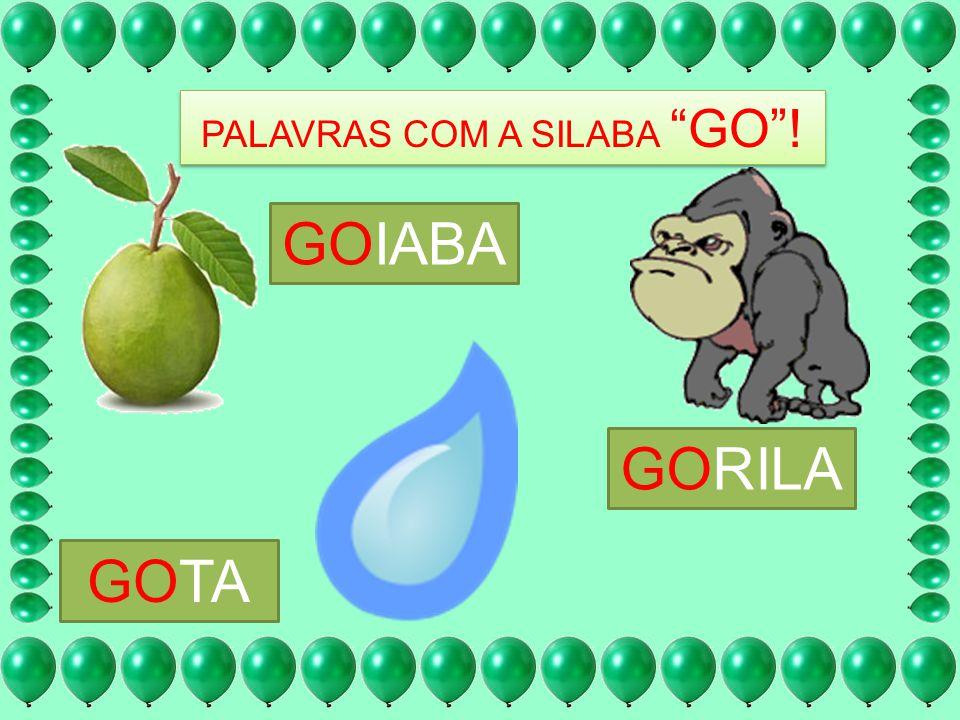 PALAVRAS COM A SILABA GO! GOIABA GORILA GOTA