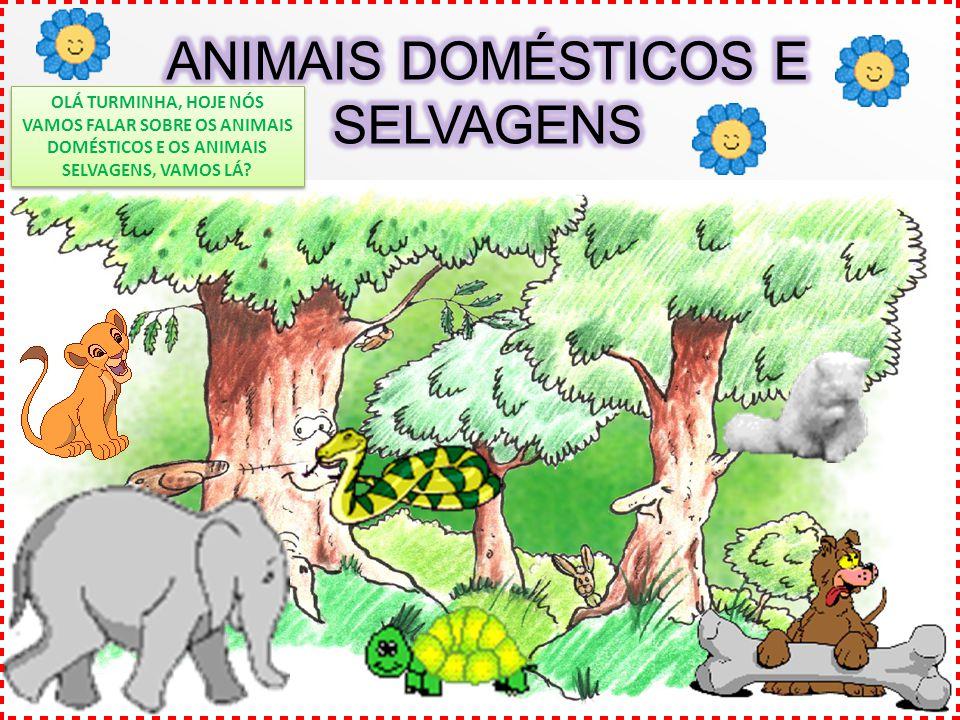 OLÁ TURMINHA, HOJE NÓS VAMOS FALAR SOBRE OS ANIMAIS DOMÉSTICOS E OS ANIMAIS SELVAGENS, VAMOS LÁ?