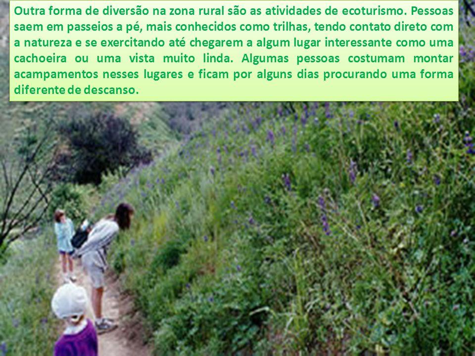 Outra forma de diversão na zona rural são as atividades de ecoturismo. Pessoas saem em passeios a pé, mais conhecidos como trilhas, tendo contato dire