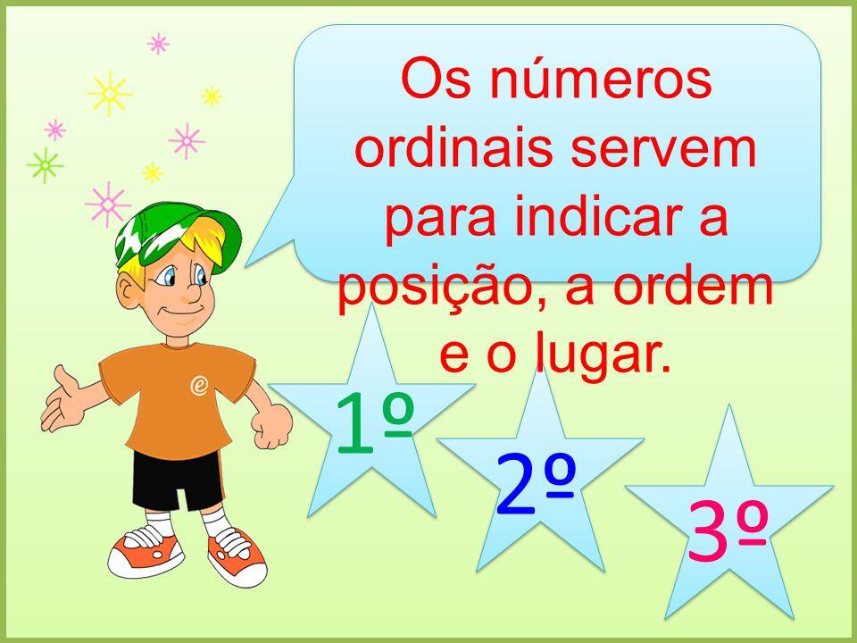 Os números ordinais servem para indicar a posição, a ordem e o lugar. 1º 2º 3º