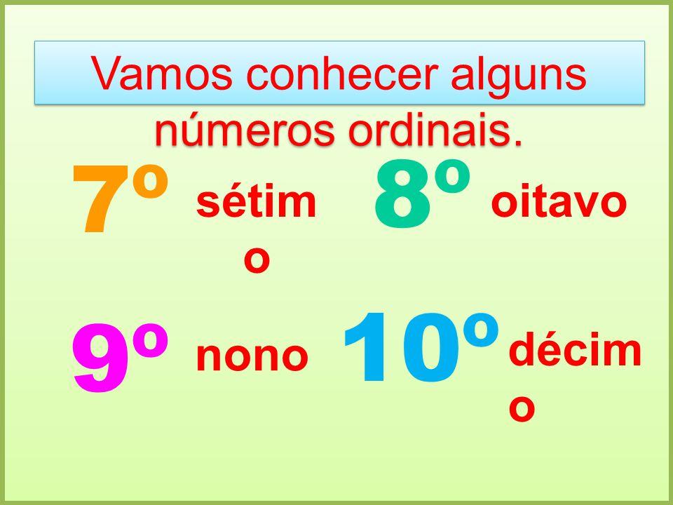 Vamos conhecer alguns números ordinais. 7º 8º 9º 10º sétim o oitavo nono décim o