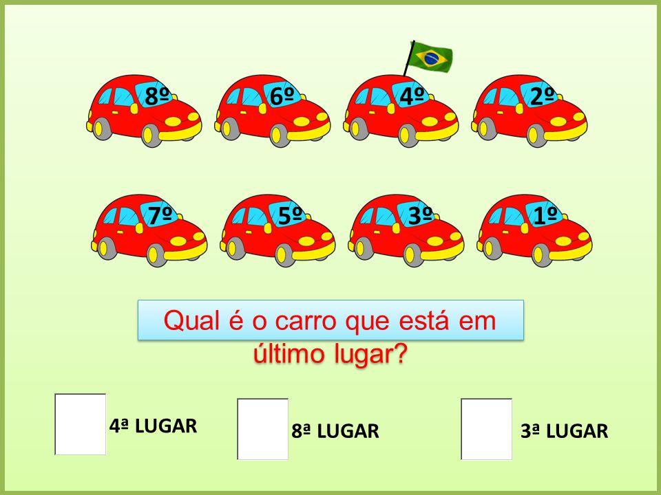 1º 2º 3º 4º 5º 6º 7º 8º Qual é o carro que está em último lugar? 4ª LUGAR 8ª LUGAR3ª LUGAR