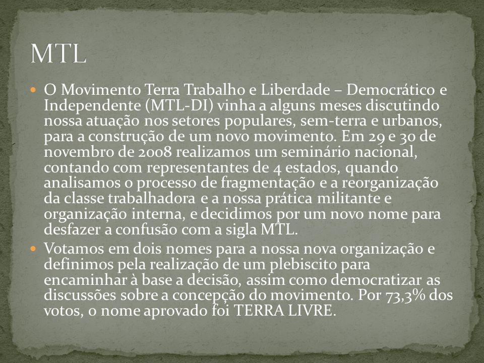 O Movimento Terra Trabalho e Liberdade – Democrático e Independente (MTL-DI) vinha a alguns meses discutindo nossa atuação nos setores populares, sem-terra e urbanos, para a construção de um novo movimento.
