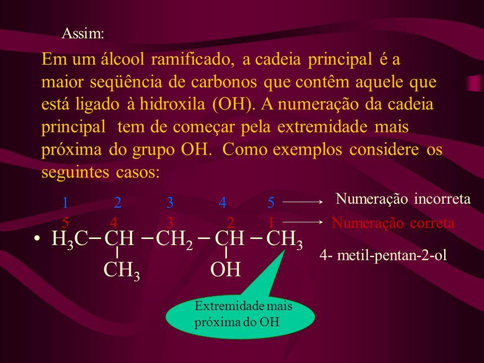 Em um álcool ramificado, a cadeia principal é a maior seqüência de carbonos que contêm aquele que está ligado à hidroxila (OH). A numeração da cadeia