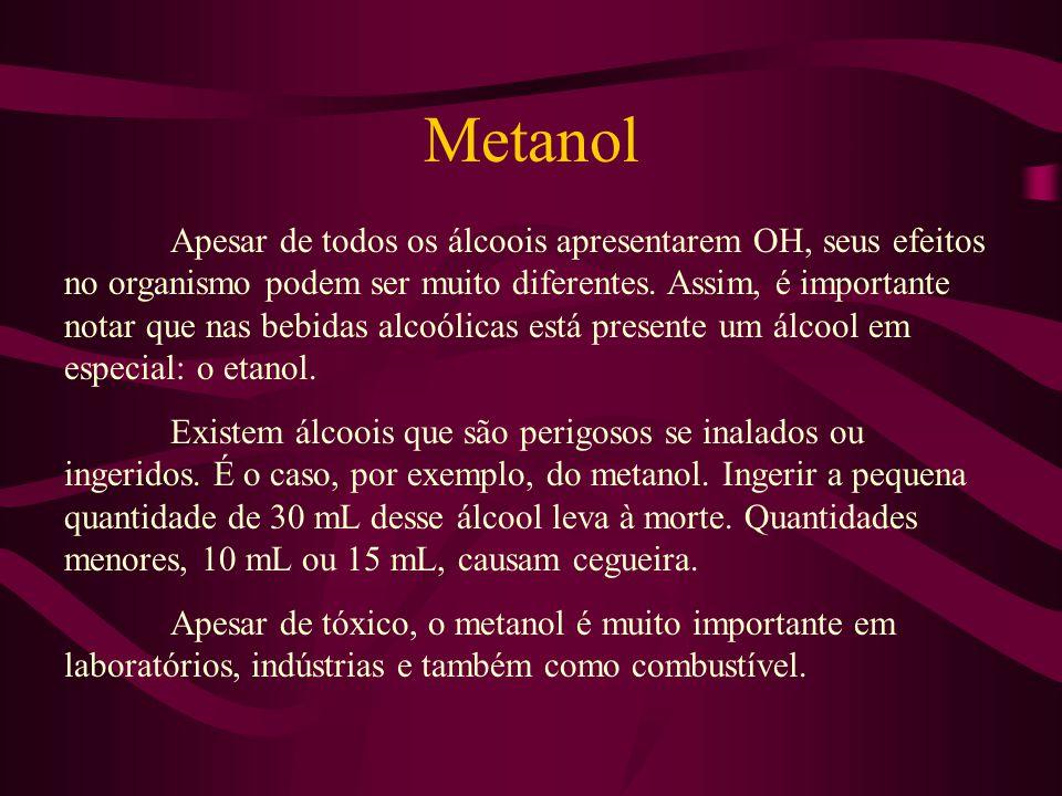 Metanol Apesar de todos os álcoois apresentarem OH, seus efeitos no organismo podem ser muito diferentes. Assim, é importante notar que nas bebidas al