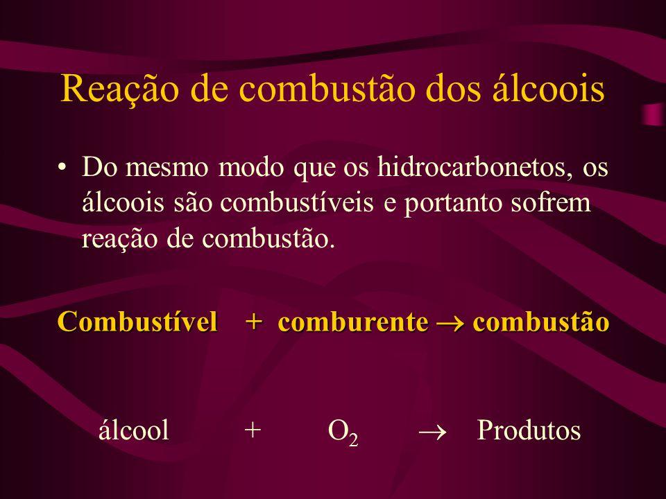 Reação de combustão dos álcoois Do mesmo modo que os hidrocarbonetos, os álcoois são combustíveis e portanto sofrem reação de combustão. álcool + O 2