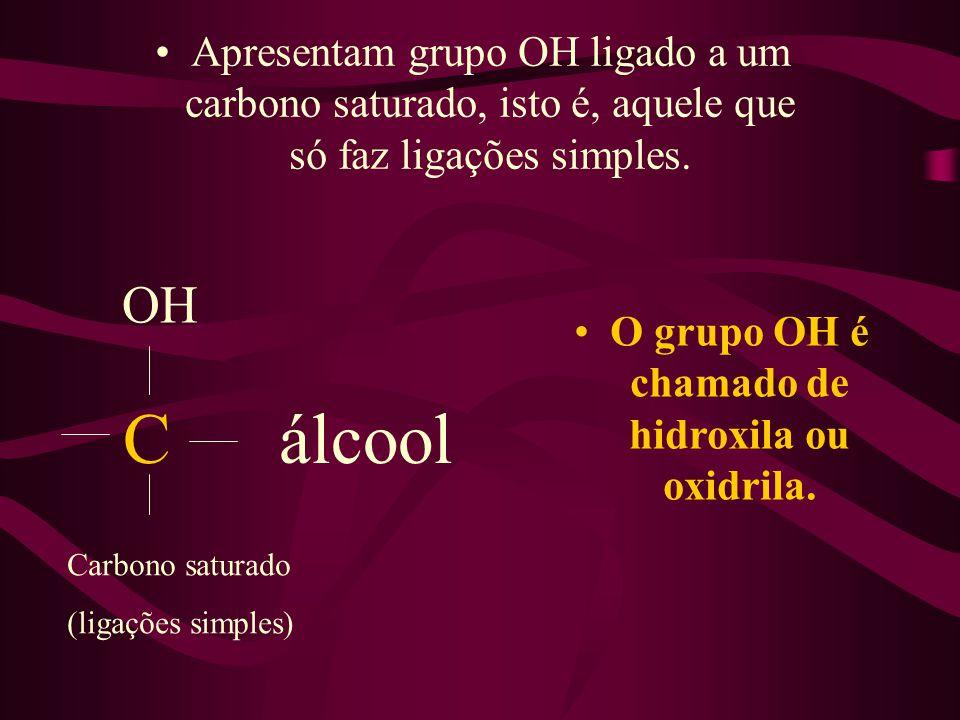 Apresentam grupo OH ligado a um carbono saturado, isto é, aquele que só faz ligações simples. O grupo OH é chamado de hidroxila ou oxidrila. OH C álco