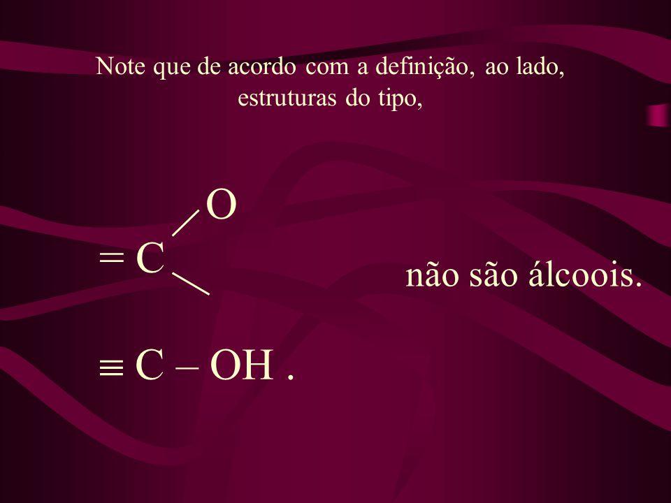 Note que de acordo com a definição, ao lado, estruturas do tipo, O = C C – OH. não são álcoois.