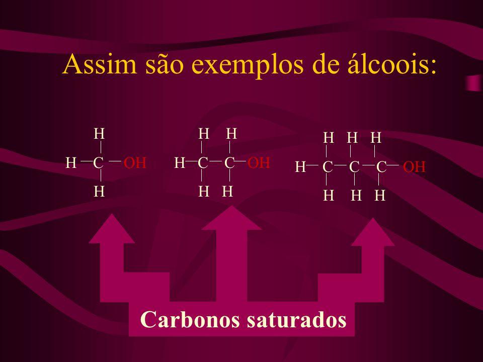 Assim são exemplos de álcoois: H H C OH H H H H C C OH H H H H H H C C C OH H H H Carbonos saturados