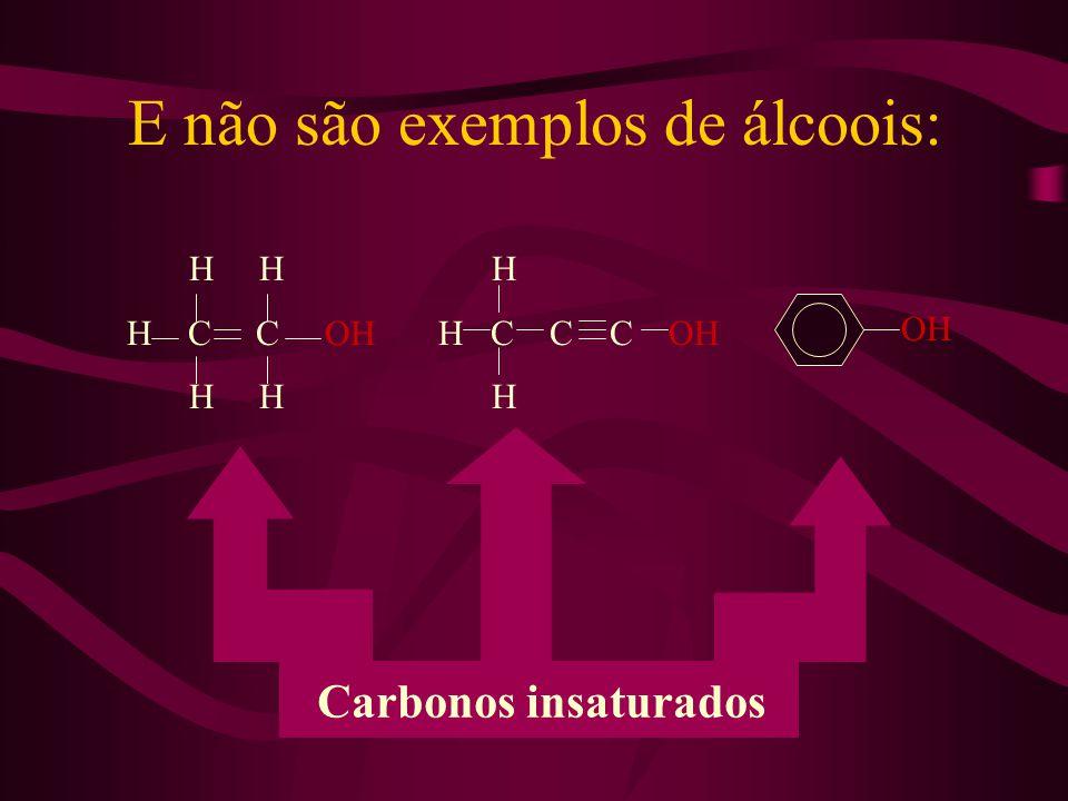 E não são exemplos de álcoois: H H H C C OH H H H H C C C OH H OH Carbonos insaturados