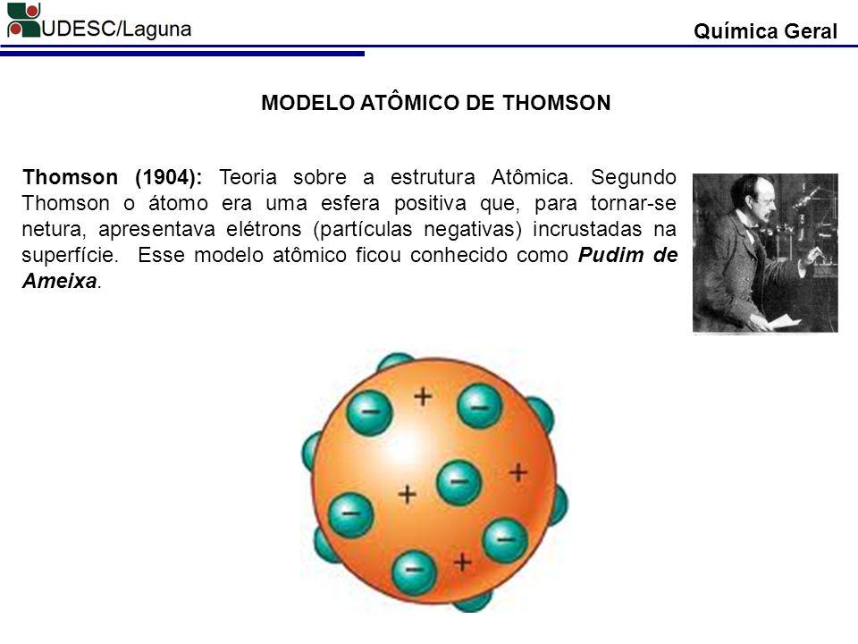 Thomson (1904): Teoria sobre a estrutura Atômica. Segundo Thomson o átomo era uma esfera positiva que, para tornar-se netura, apresentava elétrons (pa