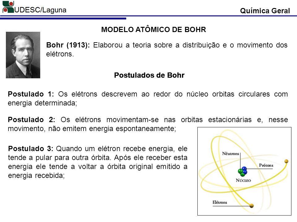 Química Geral MODELO ATÔMICO DE BOHR Bohr (1913): Elaborou a teoria sobre a distribuição e o movimento dos elétrons. Postulados de Bohr Postulado 1: O