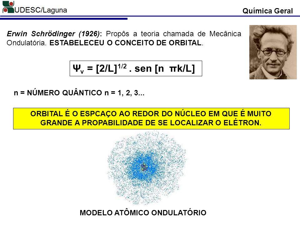 MODELO ATÔMICO ONDULATÓRIO Química Geral Erwin Schrödinger (1926): Propôs a teoria chamada de Mecânica Ondulatória. ESTABELECEU O CONCEITO DE ORBITAL.