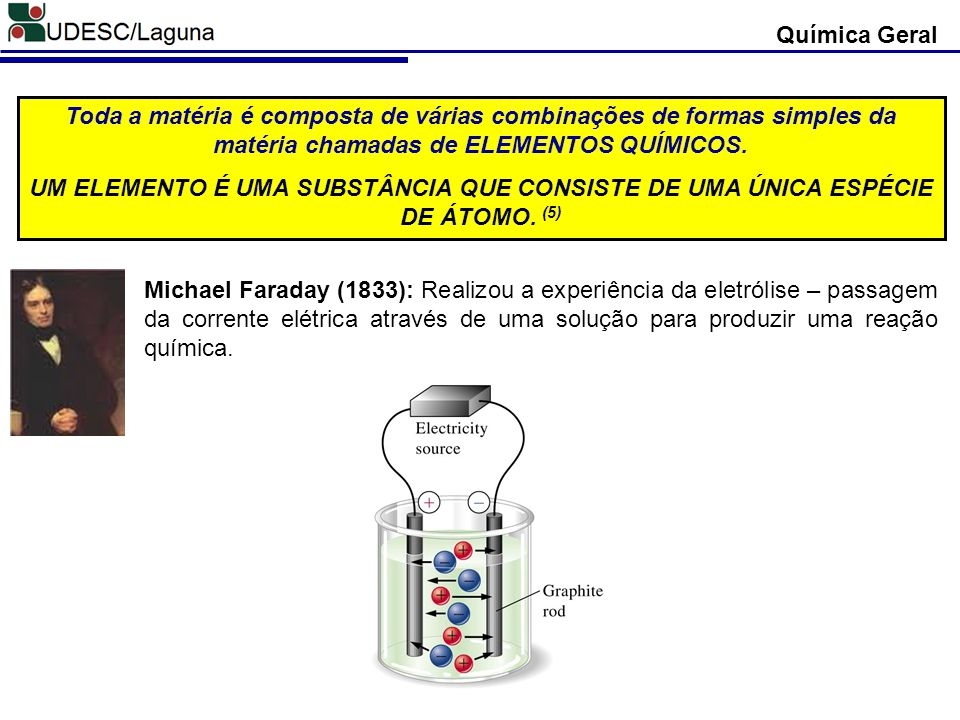 Química Geral Michael Faraday (1833): Realizou a experiência da eletrólise – passagem da corrente elétrica através de uma solução para produzir uma reação química.