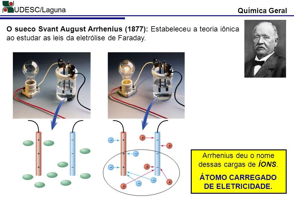 Química Geral O sueco Svant August Arrhenius (1877): Estabeleceu a teoria iônica ao estudar as leis da eletrólise de Faraday. Arrhenius deu o nome des