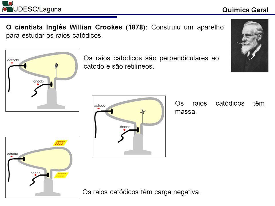 Química Geral Descoberta das Partículas Atômicas Thomson e Rutherford (1897): Determinaram a relação carga (q) massa (m) das partículas dos RAIOS CATÓDICOS, verificando que q/m é uma constante.