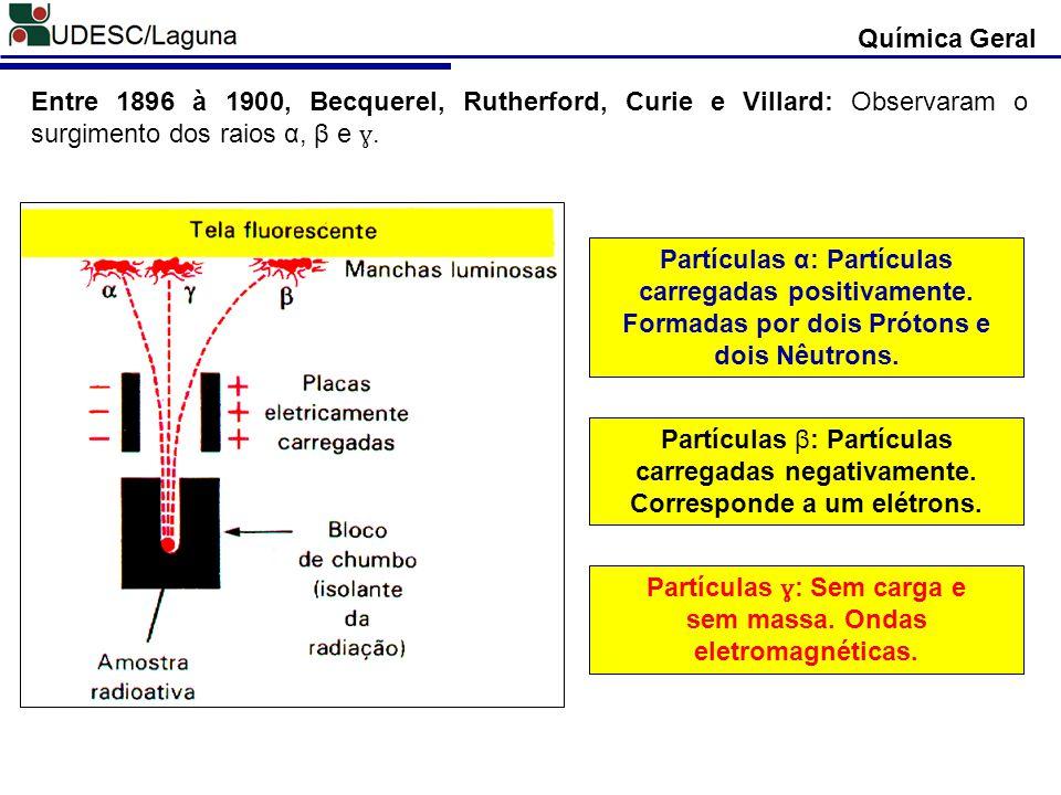 Química Geral Entre 1896 à 1900, Becquerel, Rutherford, Curie e Villard: Observaram o surgimento dos raios α, β e ɣ. Partículas α: Partículas carregad