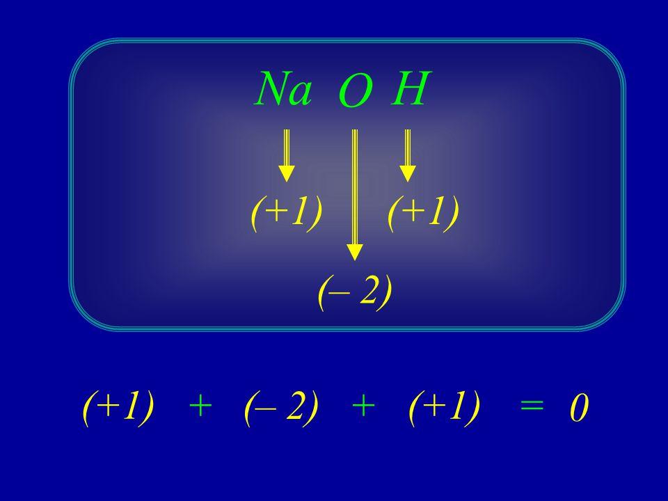 (+1) H O Na (+1) (– 2) (+1) (– 2) 0 ++=