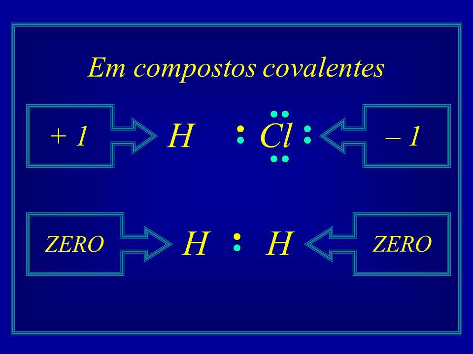 Em compostos covalentes HCl + 1– 1 HH ZERO