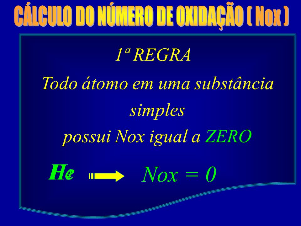 1ª REGRA Todo átomo em uma substância simples possui Nox igual a ZERO H2H2 Nox = 0 P4P4 He