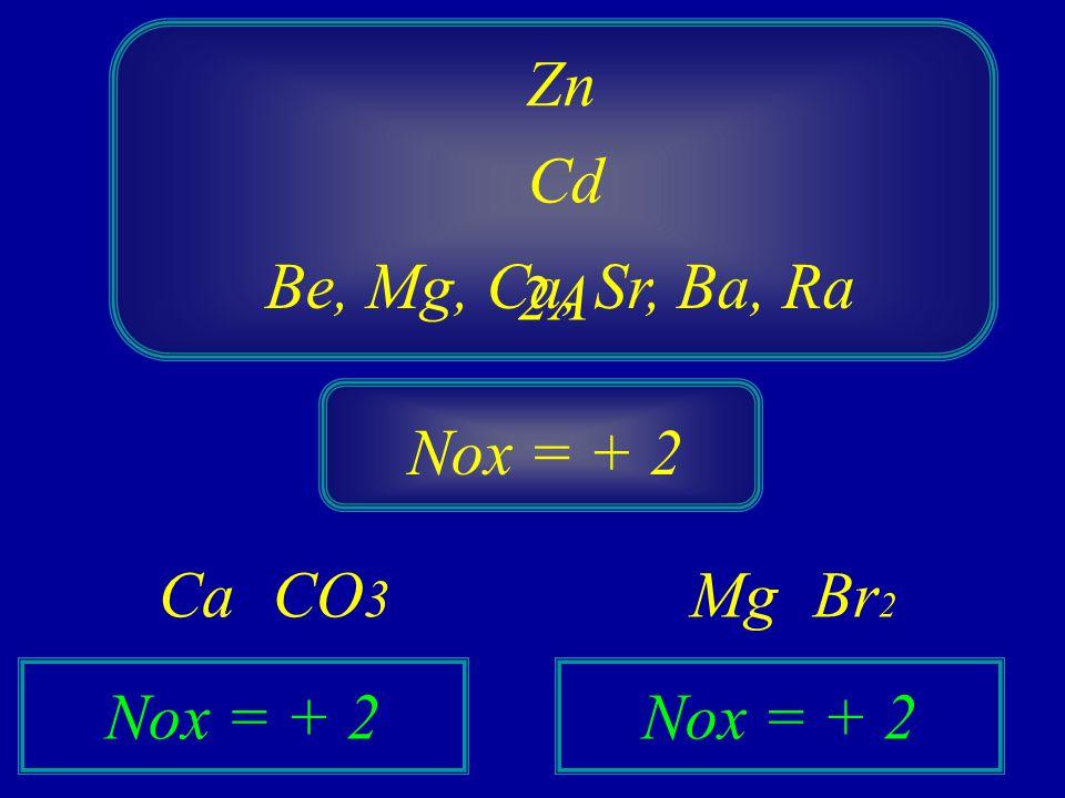 Cd 2A Zn Nox = + 2 Be, Mg, Ca, Sr, Ba, Ra CO 3 Ca Nox = + 2 Br 2 Mg Nox = + 2