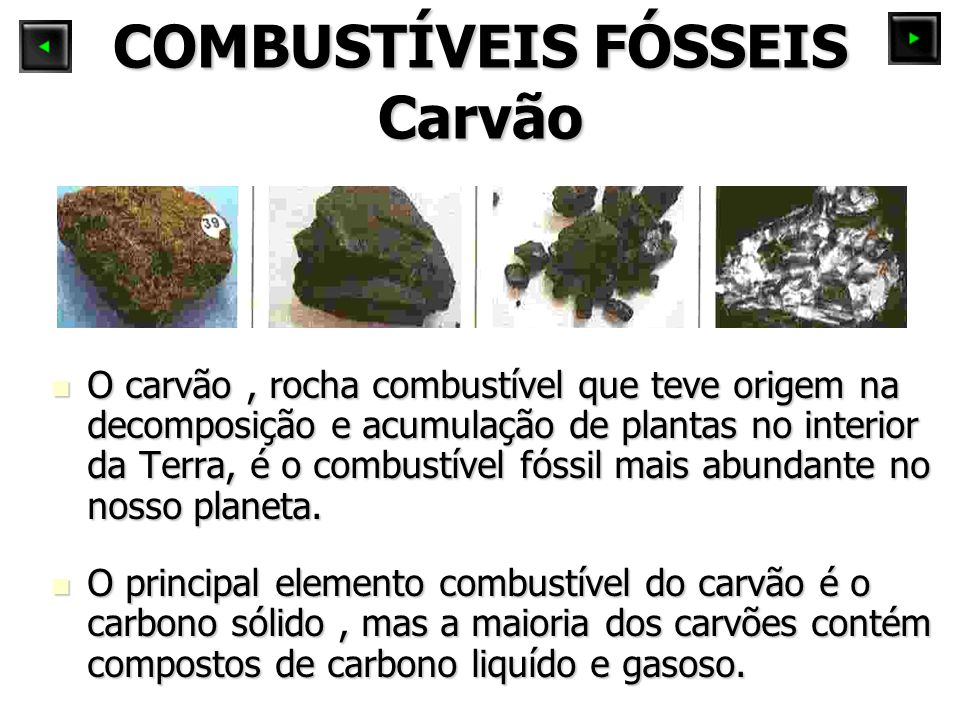 O carvão, rocha combustível que teve origem na decomposição e acumulação de plantas no interior da Terra, é o combustível fóssil mais abundante no nos