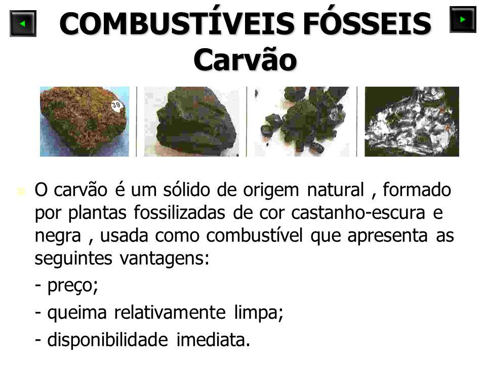 COMBUSTÍVEIS FÓSSEIS Carvão O carvão é um sólido de origem natural, formado por plantas fossilizadas de cor castanho-escura e negra, usada como combus