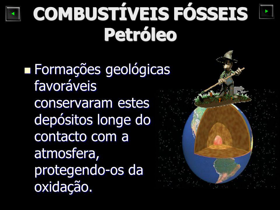 COMBUSTÍVEIS FÓSSEIS Petróleo Formações geológicas favoráveis conservaram estes depósitos longe do contacto com a atmosfera, protegendo-os da oxidação.