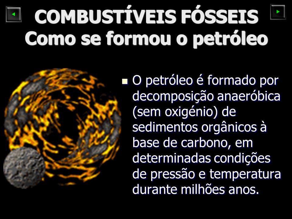 COMBUSTÍVEIS FÓSSEIS Como se formou o petróleo O petróleo é formado por decomposição anaeróbica (sem oxigénio) de sedimentos orgânicos à base de carbono, em determinadas condições de pressão e temperatura durante milhões anos.